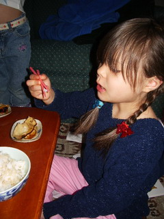 home-made gyoza ayumi eating .jpg